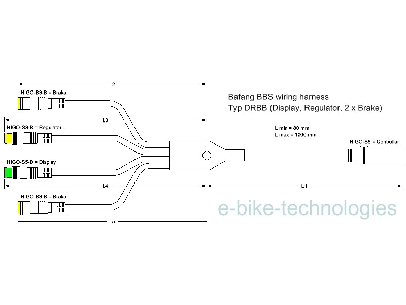 custom made wiring harness for Bafang BBS motor - Display, Throttle and 2 x Brake