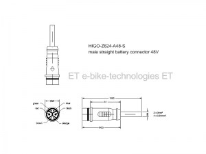 HIGO-Z624-A48-S #DE - 48V Akkukabel - gerader Stecker / #EN - 48V battery cable - straight plug