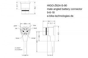 HIGO-Z624-S #DE - Akkukabel - rechtwinliger Stecker / #EN - battery cable - right angled plug