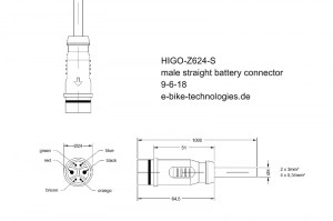 HIGO-Z624-S #DE - Akkukabel - gerader Stecker / #EN - battery cable - straight plug